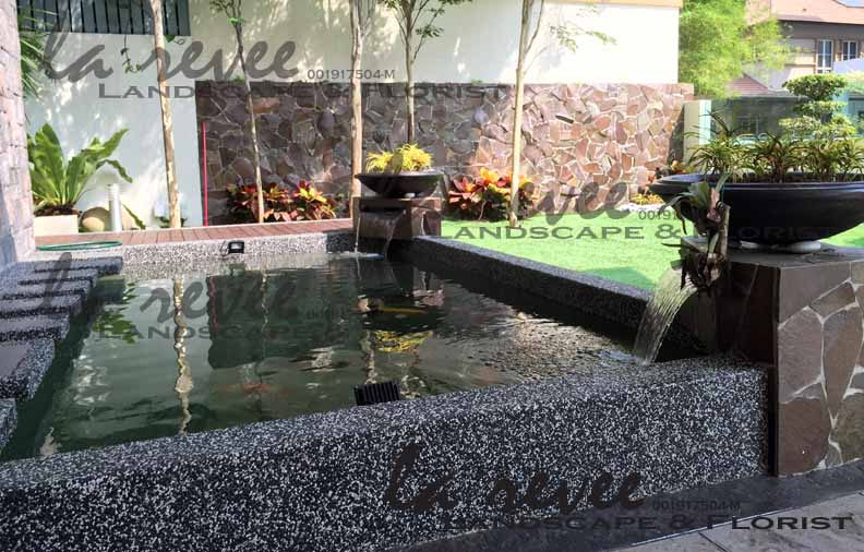 Mr richard subang heights bungalow unit for Contemporary koi pond design