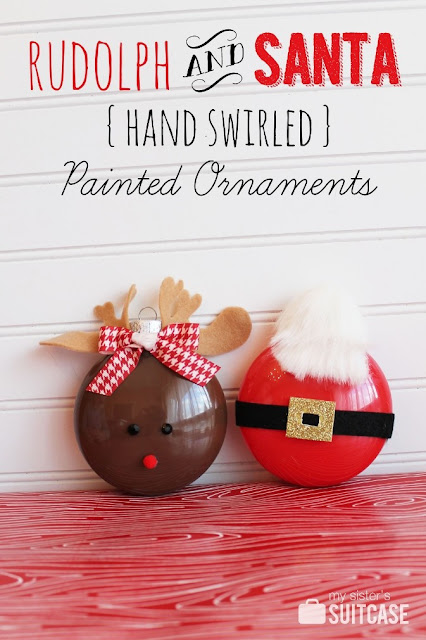 RUDOLPH & SANTA PAINTED ORNAMENTS