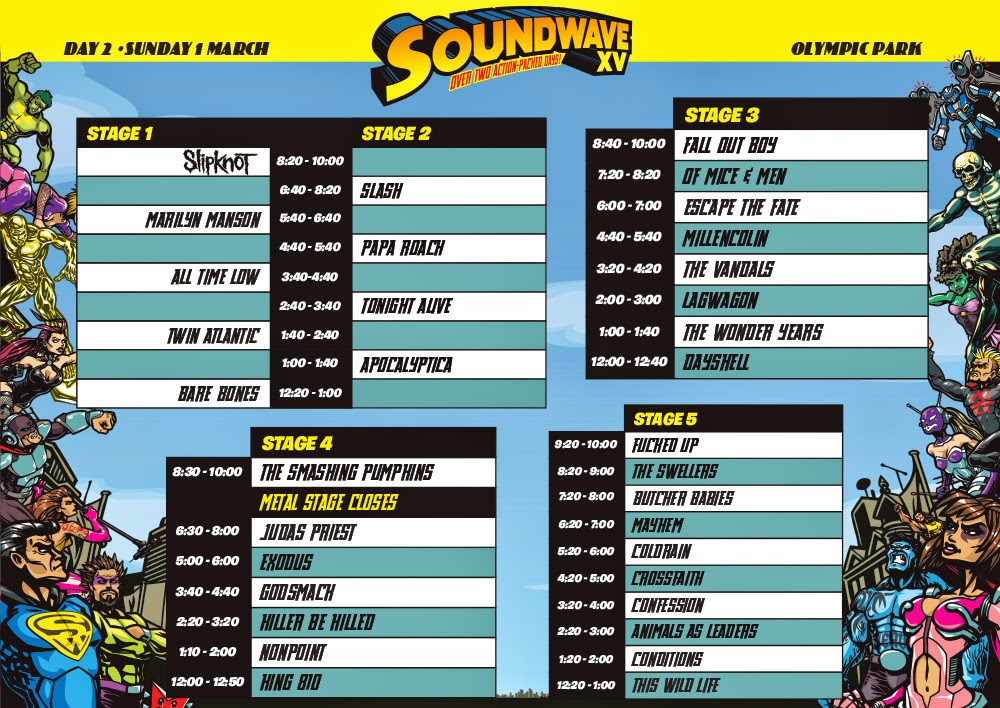 SW15 Sydney timetable day 2, soundwave 2015 timetable