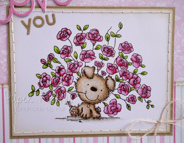 Romantic card featuring dog with roses