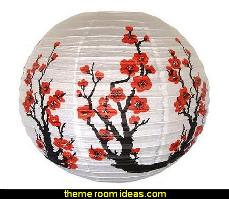 Red Sakura Cherry  Flowers White Color Chinese Japanese Paper Lantern