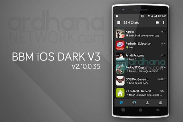 BBM iOS Dark V3 - BBM Android V2.10.0.35