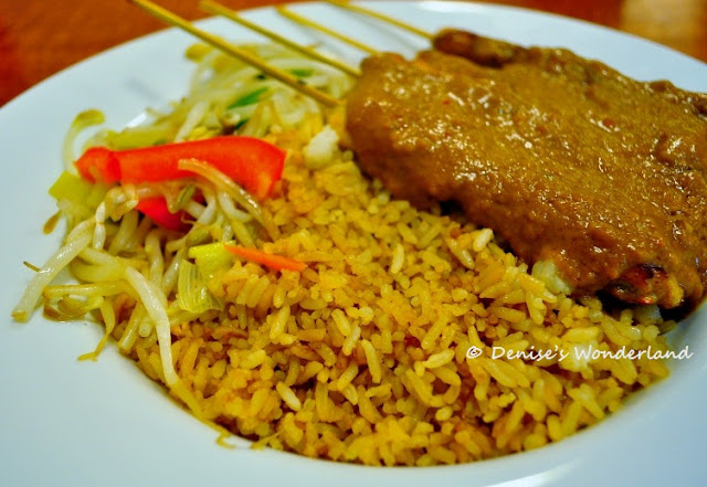 Chicken Satay with fried rice and vegetable