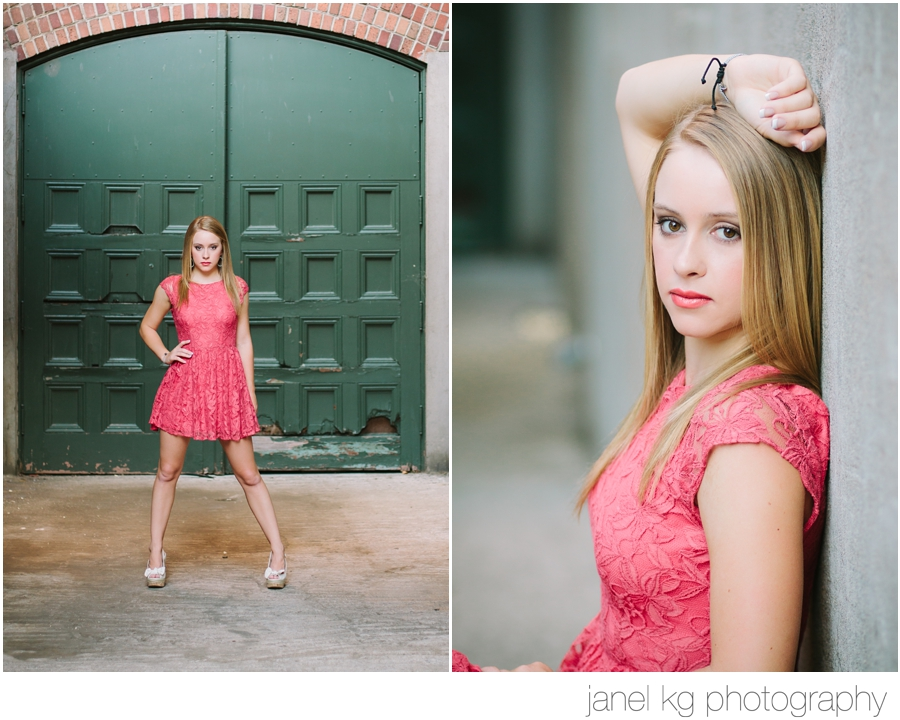 Audrey strikes a pose at Memorial Auditorium for her senior portrait session in downtown Sacramento with Janel KG Photography