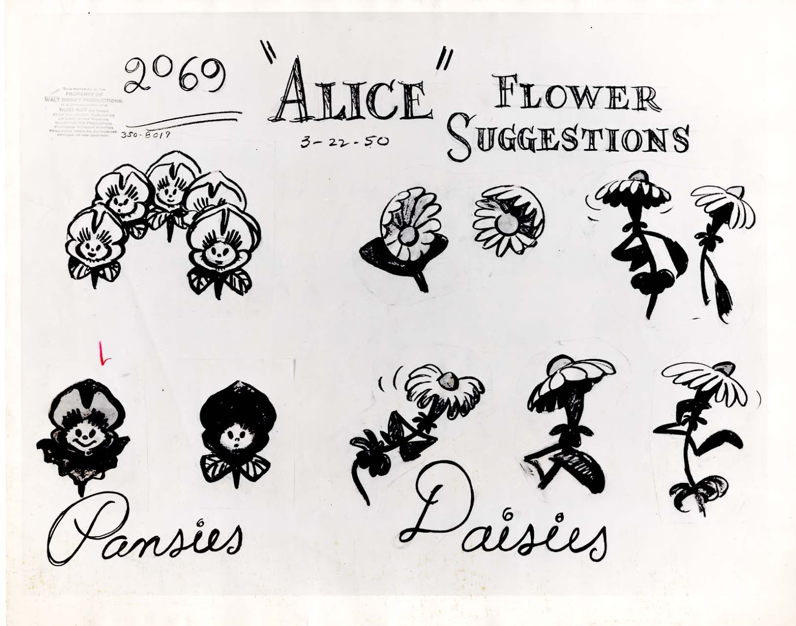 Vintage Disney Alice In Wonderland Animation Model Sheet