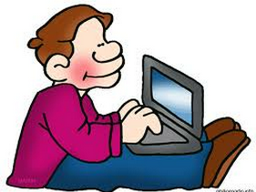 cartoon figure of a guy sitting with a computer in his lap blogging