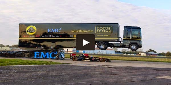EMC Giant Truck Jump Over the Formula One Car set the New World Record