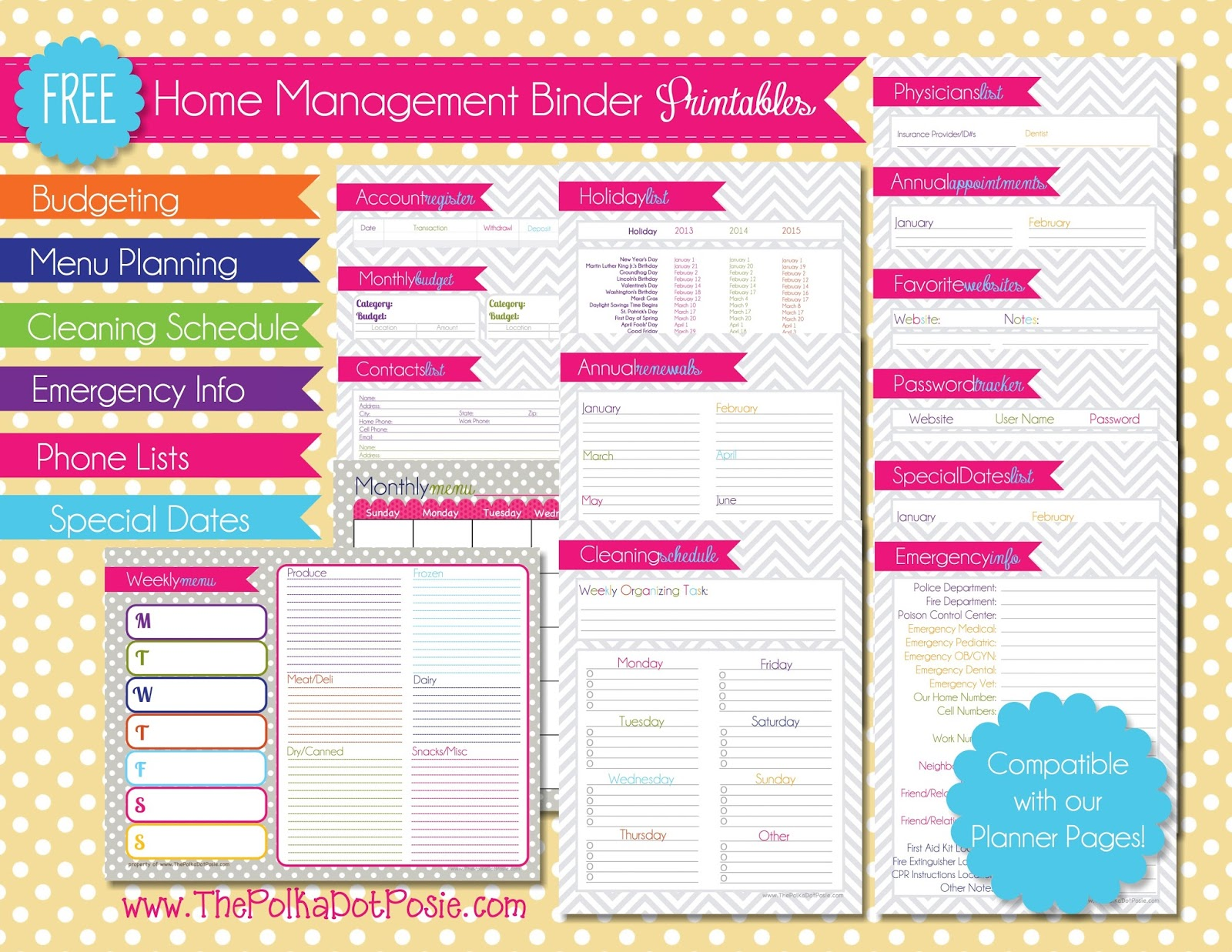 free printables for home management binder www