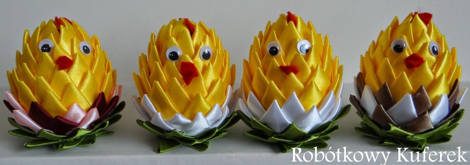 wielkanocne jajka ze wstążki