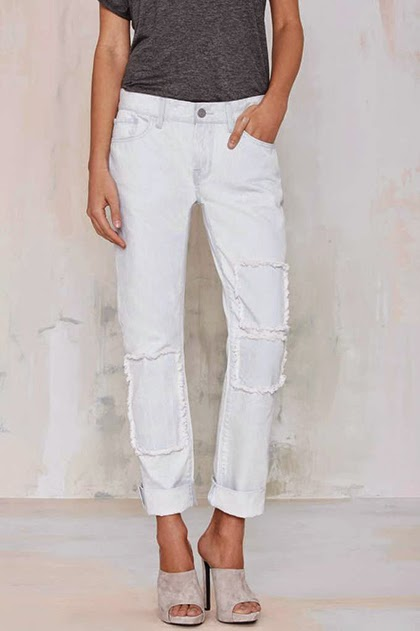 Trendin g Fashion 2015 - Patched White Jeans