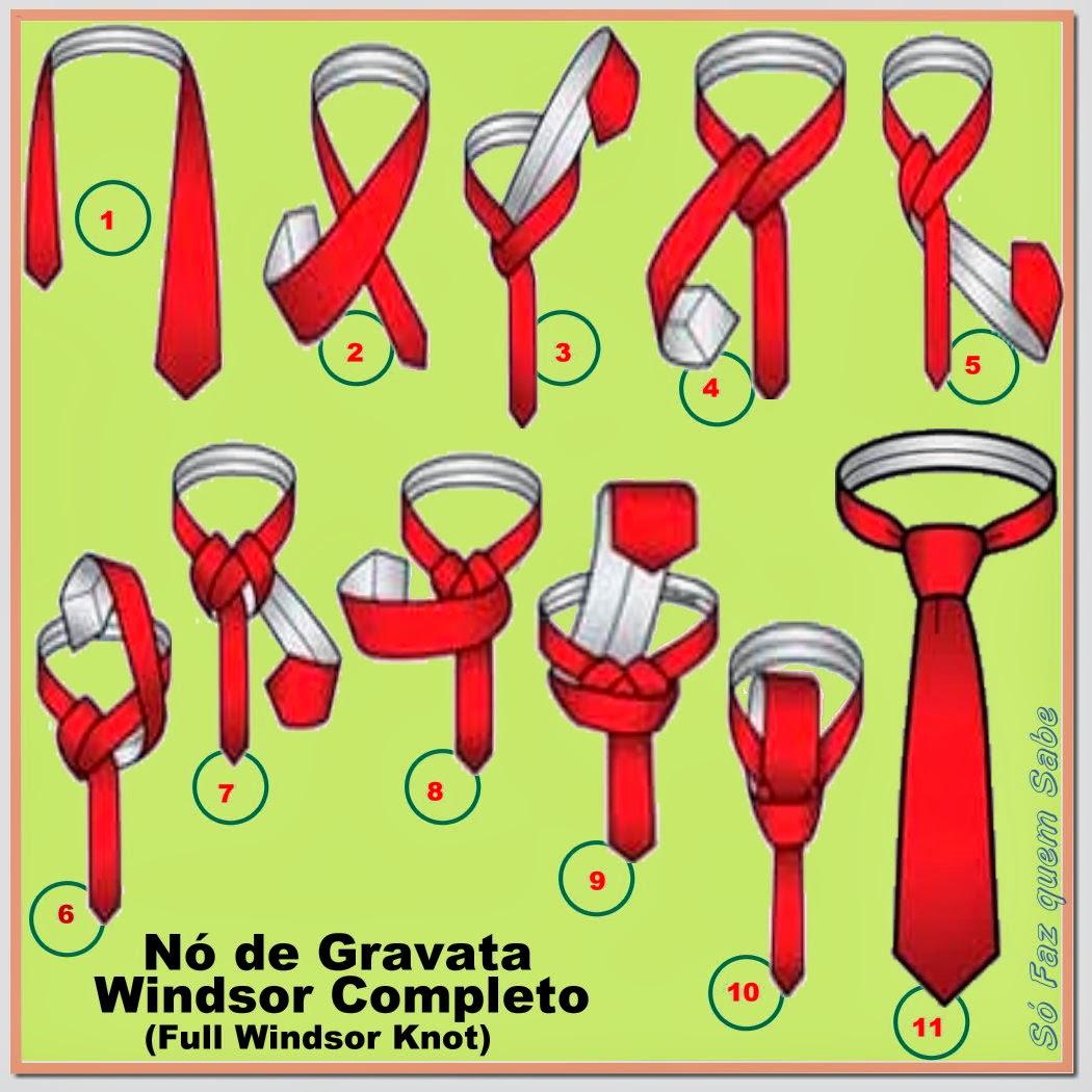 Passo-a-passo do nó de gravata Windsor duplo ou completo (full Windsor Knot), também conhecido como nó clássico ou inglês.