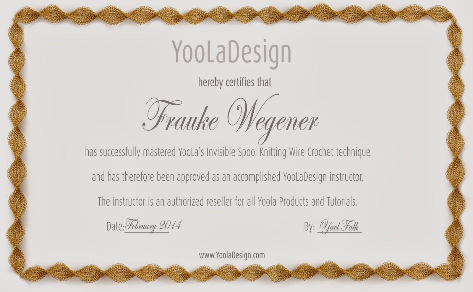 Zertifikat Yoola Design