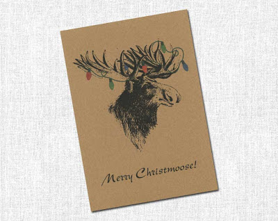 moose with christmas lights hanging off his antlers christmas card