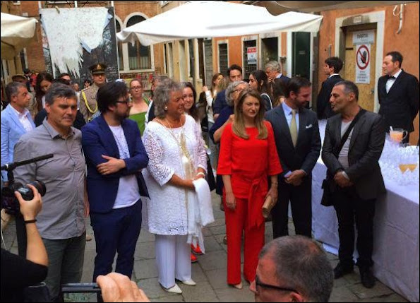 Crown Prince Guillaume of Luxembourg and Crown Princess Stéphanie of Luxembourg attend the opening of the Luxembourg pavilion (Paradise of Luxembourg) at the Biennale art festival