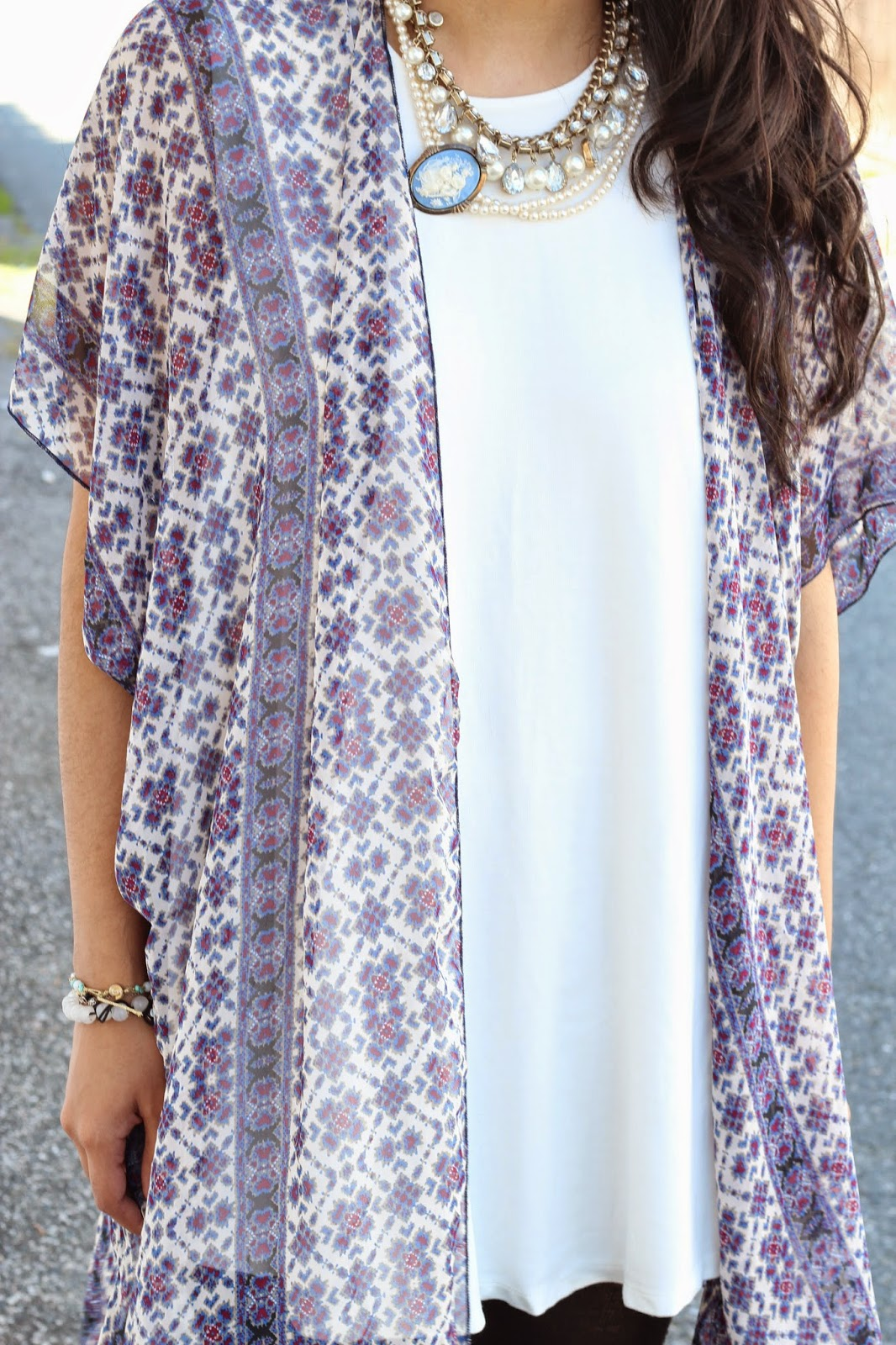 floral kimono jacket with white dress with cameo necklace www.footnotesandfinds.com