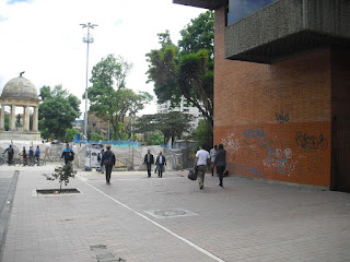 Defaced buildings in Bogotá, Colombia.