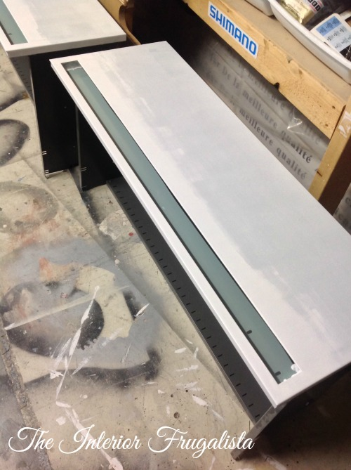 Metal File Cabinet Drawer Fronts primed and painted white