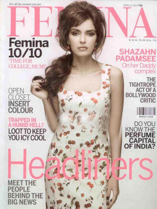 Shazahn Padamsee on Femina Magazine Cover - April 2011