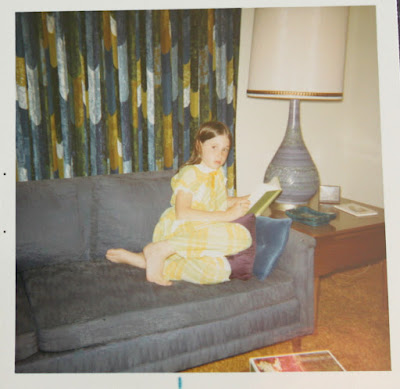 mid-century modern drapes, sofa and lamp