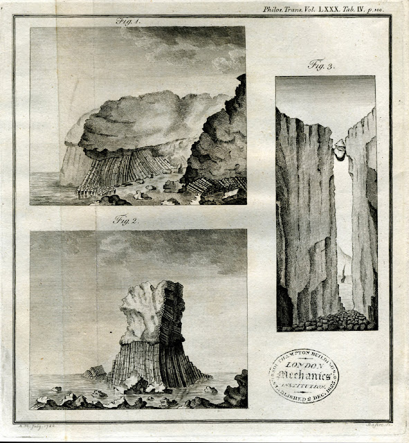 Fig. 1. View of the Glen near Ardlun Head in Mull. Fig. 2. View of the insulated Rock at the termination of the Glen. Fig. 3. A view of the great Fissure, the Cave and the suspended Stones, in the Island of Mull. The fissure ranges N. and S., is about ten feet wide and forty yards deep: the sides and the suspended stones are granite.  From: Some account of the Strata and Volcanic Appearances in the North of Ireland and Western Isles of Scotland. In two letters from Abraham Mills Esq. to John Lloyd, Esq. F.R.S. Read January 21, 1790. Published in Phil. Trans. Vol LXXX.