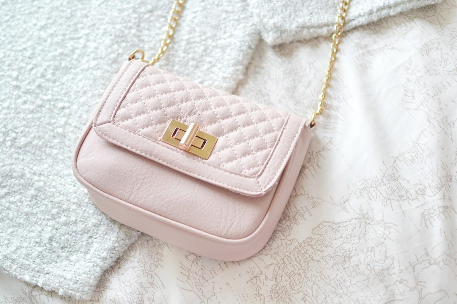 pink quilted bag, primark bag, pink handbag