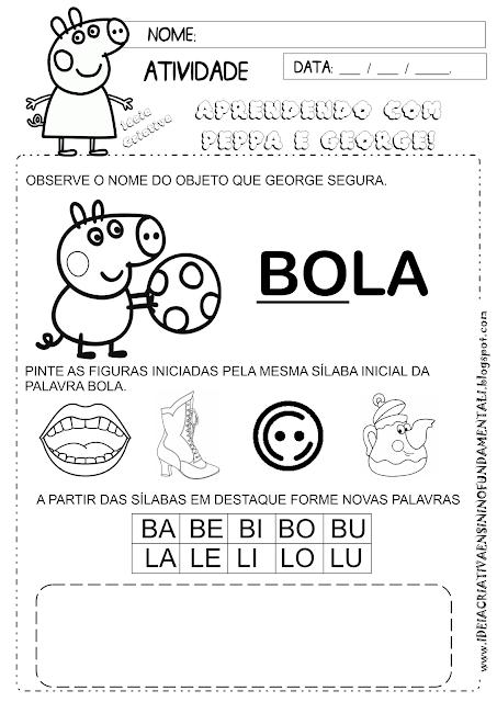 Atividade Consciência Silábica Peppa Pig