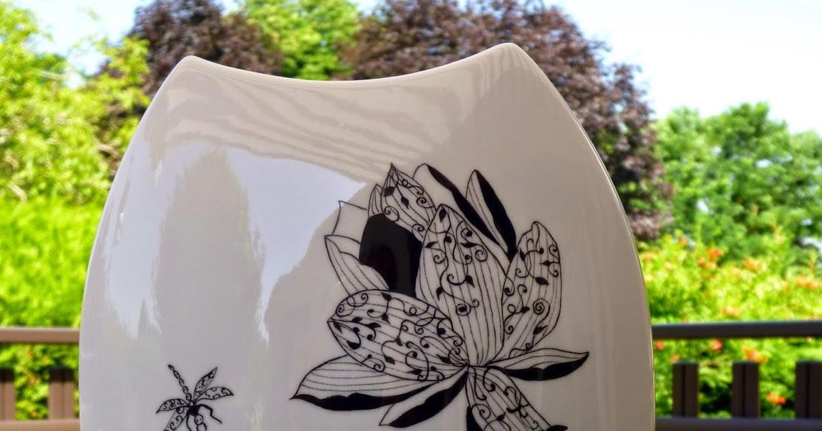 La peinture sur porcelaine vase noir et blanc de bernadette - Salon porcelaine lyon ...
