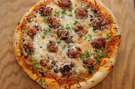 Meatball Pizza with Olive Tapenade
