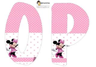 Lindo alfabeto de Minnie saludando, en rosa y blanco OP.