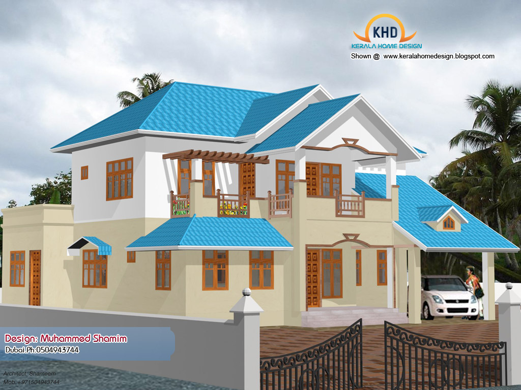 Beautiful home elevation design in 3d kerala house for Beautiful home design