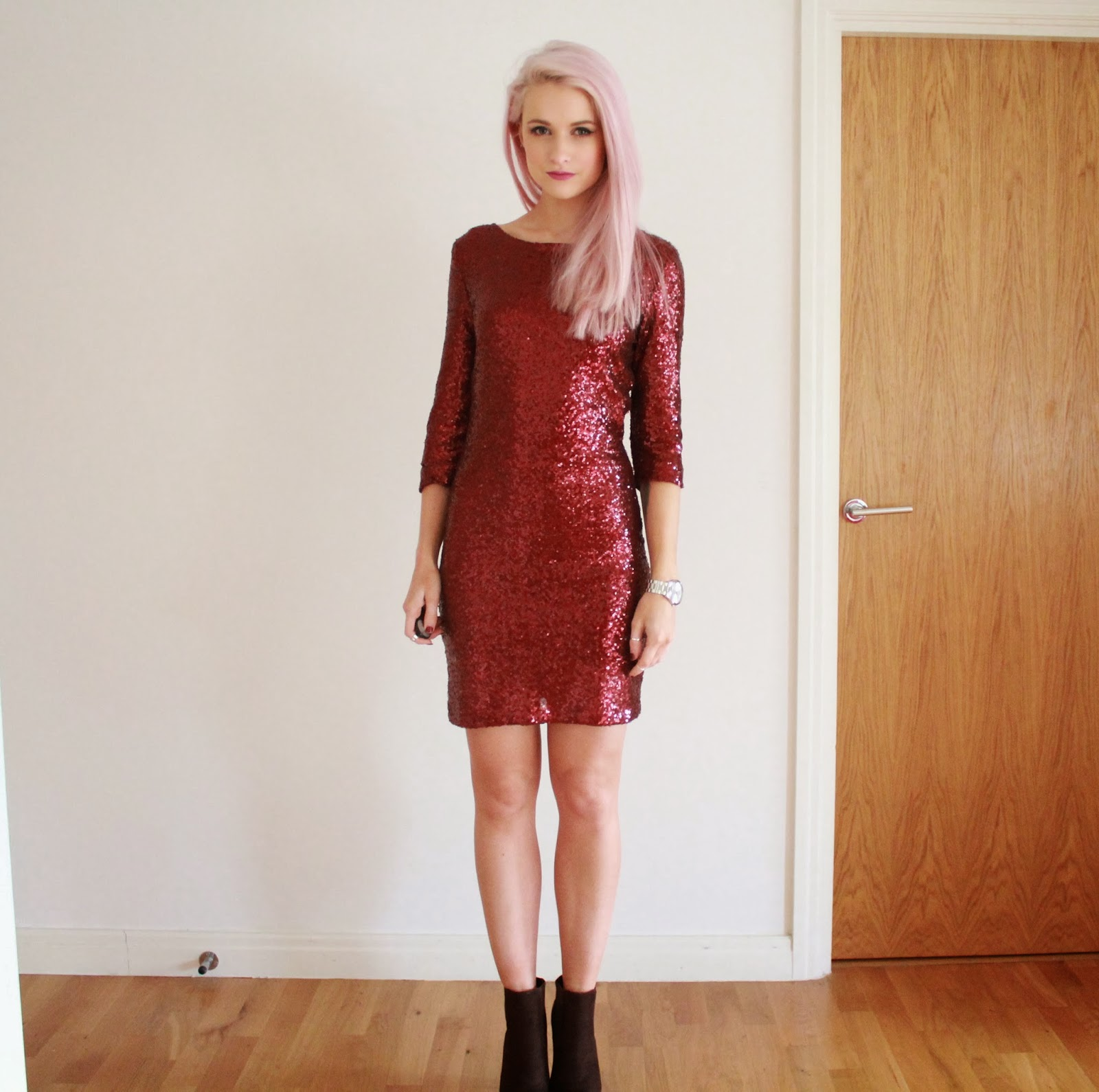 Lavish Alice Burgundy Sequin Dress