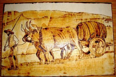 junta de bois em pirogravura