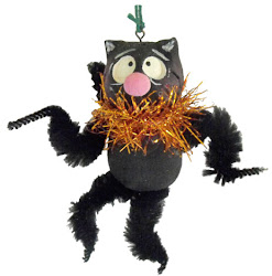 Halloween black cat feather tree ornament