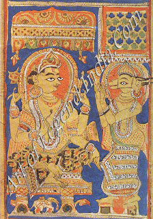Sakra (Indra) commands the exchange of babies in the wombs of Devananda and Trisala. An illustration from a manuscript of the Kalpasutra, the Jain holy scriptures, of the fifteenth century.