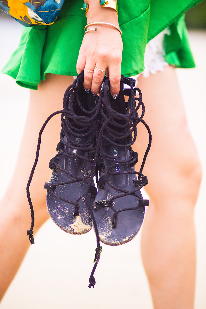 Jeffrey Campbell lace gladiator sandals- Panwa Beach, Crystal Phuong