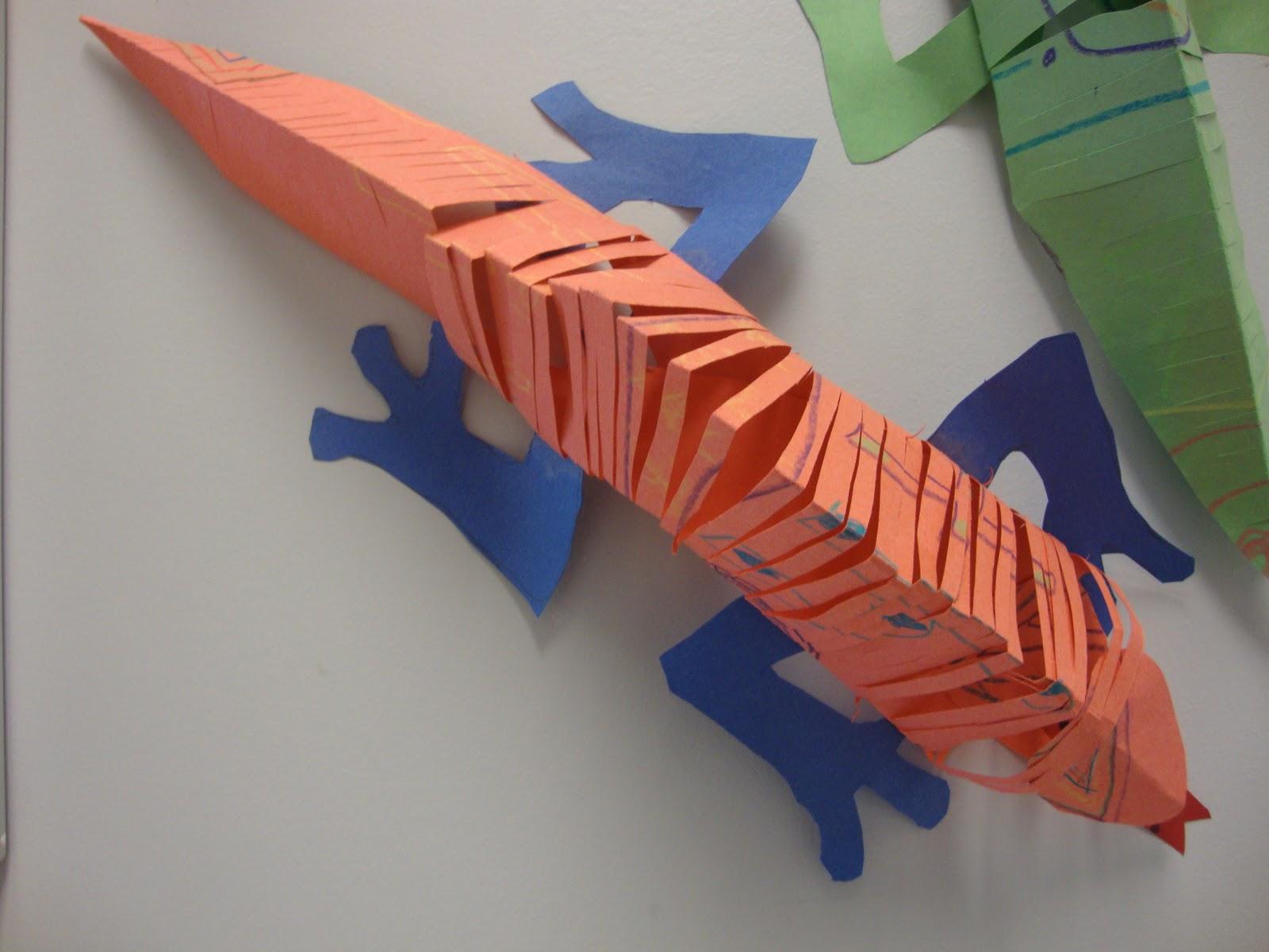 art paper scissors glue slinky lizard
