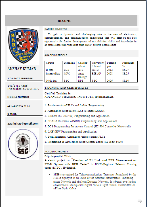 beautiful resume format in word b tech fresher