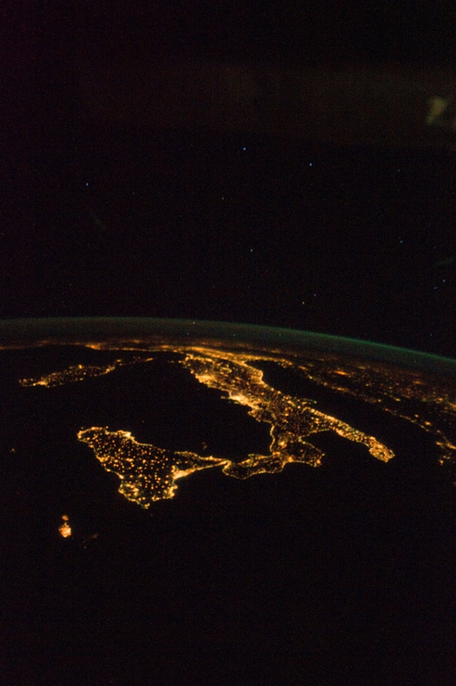 Satellite photo od the southern Italy and Mediteranien sea