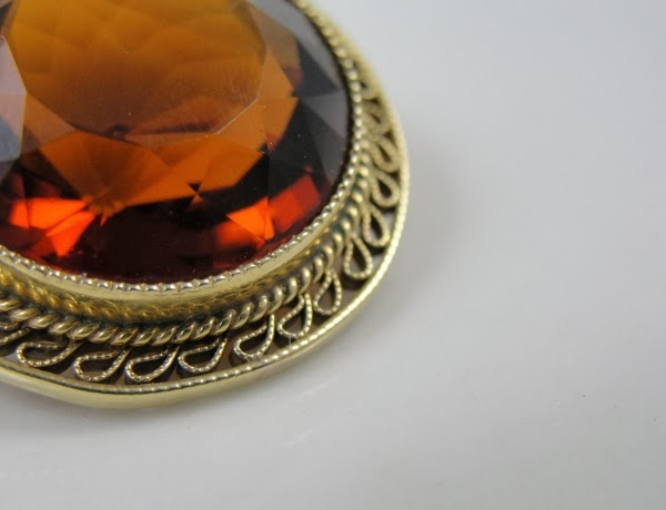 Early 1900s 20 Carat Citrine Brooch #antique #jewelry #citrine