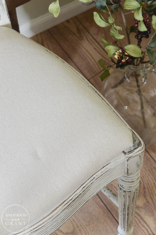 Update a chair with drop cloth upholstery. | www.andersonandgrant.com