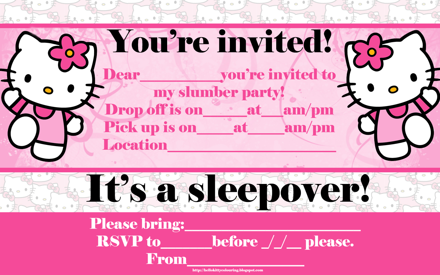 Free printable hello kitty slumber party invitation invitations for sleepover party invitation templates monicamarmolfo Image collections