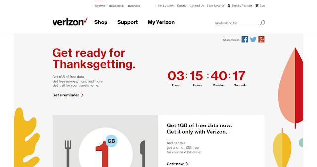 Get Verizon free 1 GB data now! Thanksgetting by Verizon
