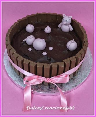 Tarta Pastel Torta Cake Cerditos Chanchitos Cerdos Barro Cumpleaños Aniversario Niño Niña Fiesta Mesa Dulce Fondant Modelado Figuras Animales Granja Chocolate Bizcocho Esponjoso Fresa Kit Kat
