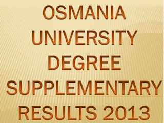 Osmanaia University OU Degree 1st,2nd, 3rd Year Supplementary Results Date 2013  at www.osmania.ac.in