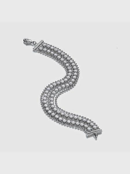 Rhodium Sparkle Bead Multi Row Bracelet