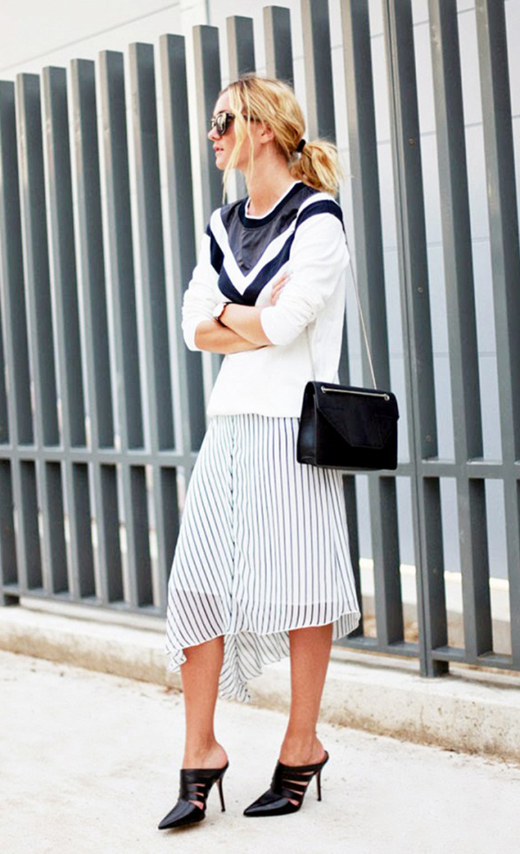 Adenorah street style, striped midi skirt, Alexander Wang pointy-toe heels, Saint Laurent cross body bag