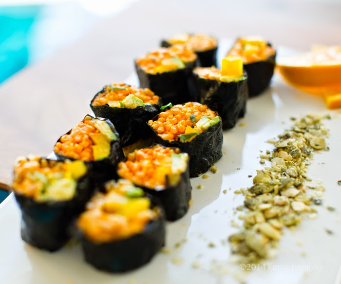 Golden Avocado Sushi Roll