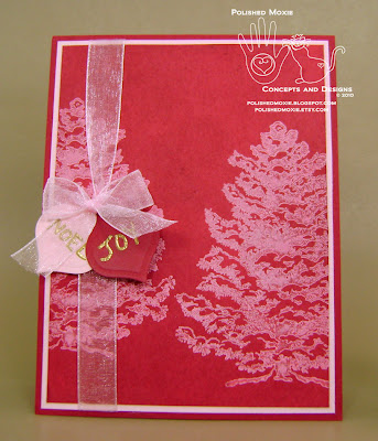 Picture of handmade Red Snowy Trees Christmas Card