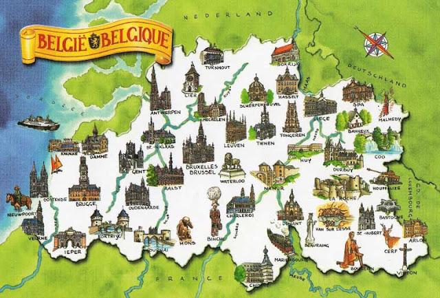 туристическая карта Бельгии