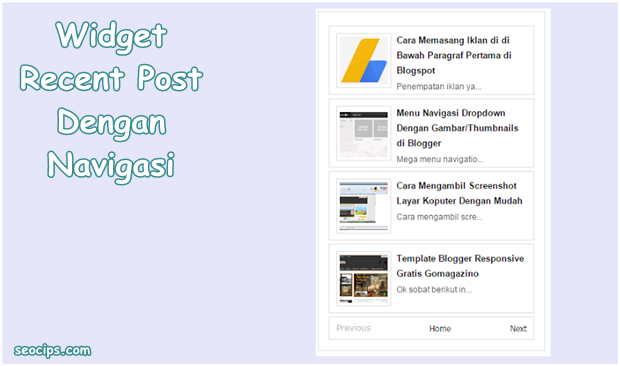 Widget Recent Post Blogger Dengan Navigasi (Light Style)